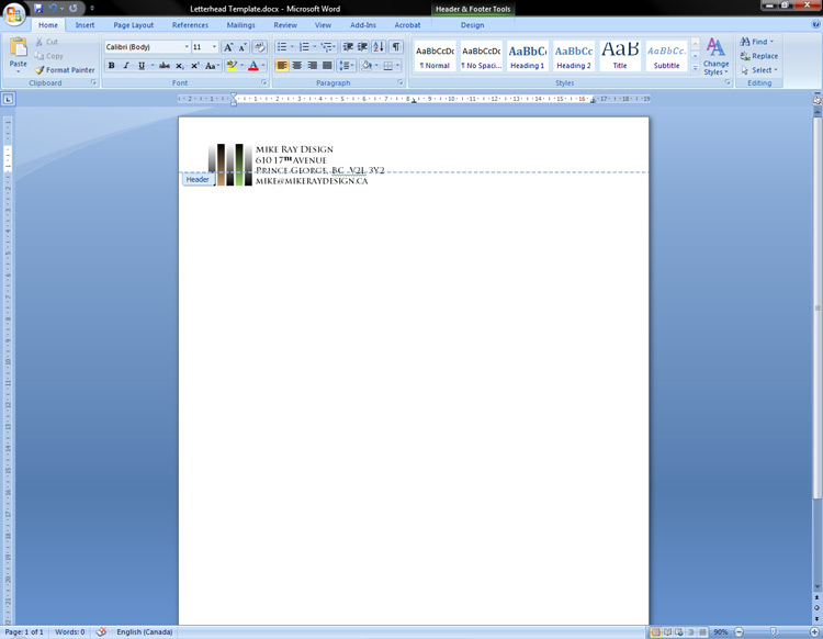 Adding a basic header to the letterhead