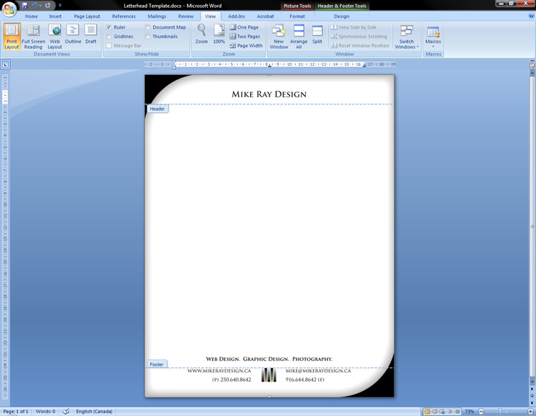 Adding an Adobe Illustrator design to the letterhead